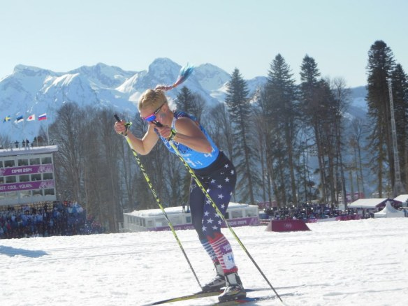 Jessie Diggins Skiing Olympic Relay Anchor Leg