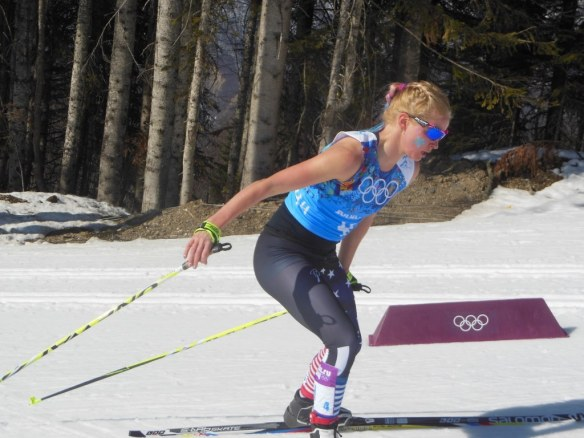 Jessie Diggins Finishing First Lap of Olympic Relay Anchor Leg