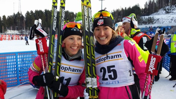 Kikkan Randall and Sophie Caldwell all Smiles after Lahti Sprint Podiums