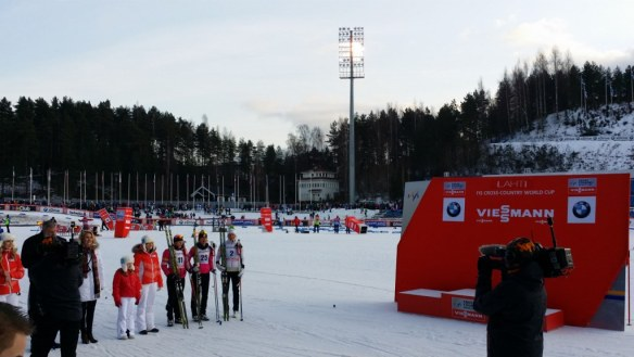 Kikkan Randall and Sophie Caldwell Podium Presentation in Lahti Finland