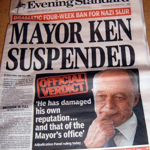 Ken Livingstone suspended - Evening Standard Banner headline