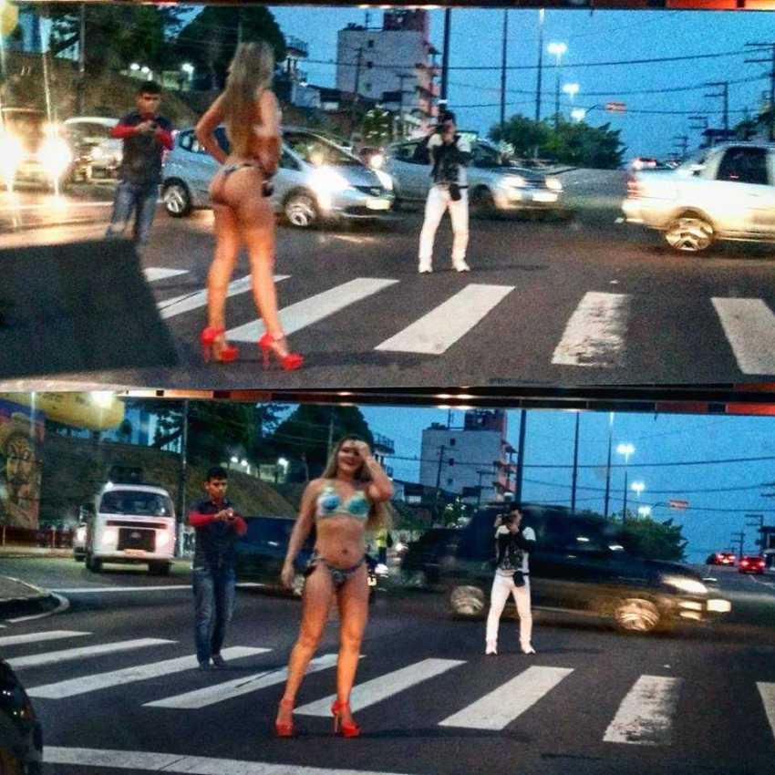 Saiba quem foi a modelo fotografada em pleno trânsito caótico da Avenida Constantino Nery em Manaus / Foto : No Amazonas é Assim