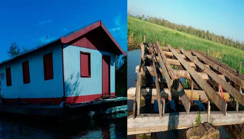 Antes e depois da casa flutuante da dona Zilma de Manacapuru – Divulgação