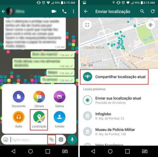 Selecione a opção de anexo para compartilhar a localização no WhatsApp - Imagem: Reprodução