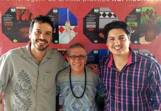 Secretário de Cultura Denilson Novo, artista Rui Machado e o idealizador do No Amazonas é Assim - Marcus Pessoa.