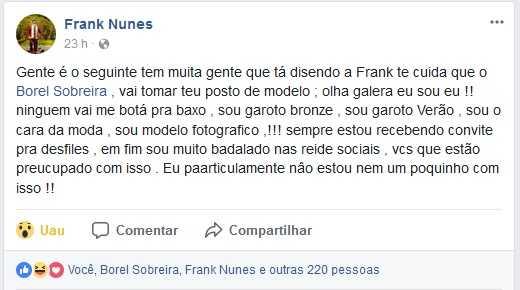 Frank Nunes rebatendo Borel Sobreira / Reprodução Facebook