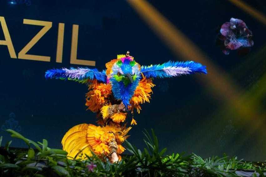 Detalhes da composição do traje típico de Mayra Dias, que foi feito por artistas de Parintins. / Foto: Divulgação/Miss Universe