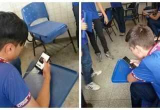 Como forma de conscientização quanto à dependência dos alunos com relação ao celular, a proposta do trabalho é de viabilizar o uso do aparelho no processo de aprendizagem. / Foto: Divulgação/Fapeam