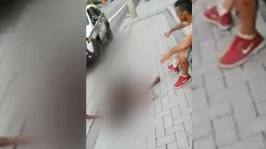 O suspeito negouque havia agredido a mulhere falou que um carro bateu nela. Foto: Reprodução