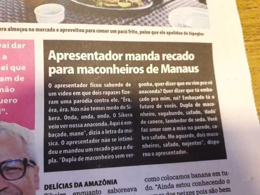 Resposta do Sikera Jr aos maconheiros de Manaus