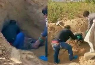 """Mãe idosa sobrevive após três dias """"enterrada viva"""" pelo filho; veja o vídeo do resgate"""