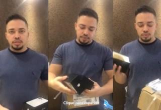 Homem compra iPhone pelo site da Casas Bahia e recebe macaxeira na caixa! Veja vídeo