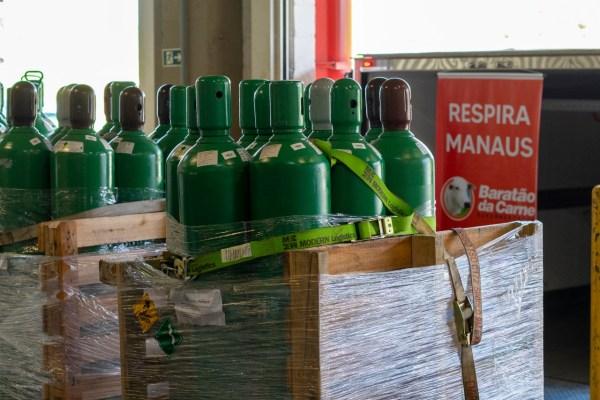Baratão da Carne doa 150 cilindros de oxigênio para ajudar famílias de doentes com covid-19 em Manaus / Foto : Divulgação