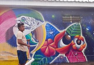 """Projeto """"Murais de Mawe"""" ressalta a vivência do homem da floresta em Maués / Foto: Divulgação"""