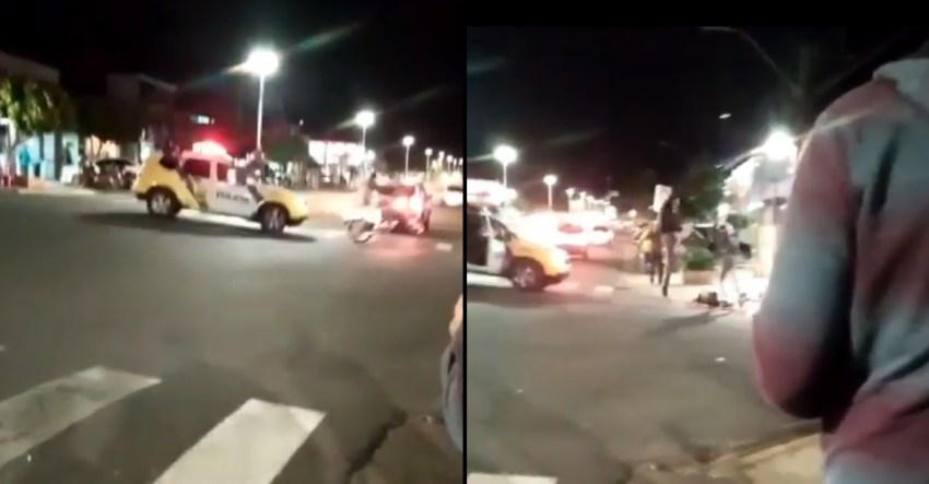 Vídeo : Policial Militar dá voadora em jovem de 17 anos após o mesmo tentar fugir de moto de uma abordagem