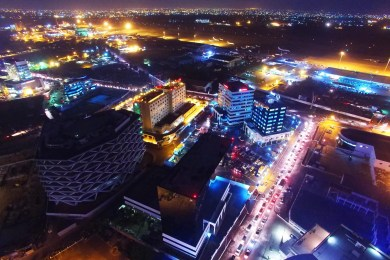Accra from the sky at night. Shot by Aero Shutter