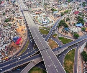Accra City road network at Kwame Nkrumah Interchange Circle Dubai aerial view