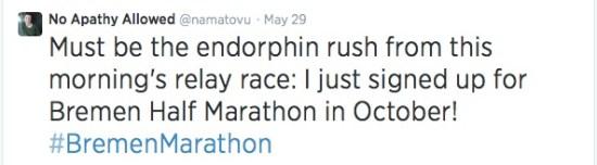 Bremen Half Marathon Tweet