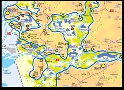 Mapa de la región, asentamiento de ARIEL