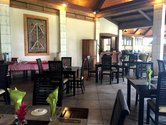 Dining area of Koro Sun Resort & Rainforest Spa