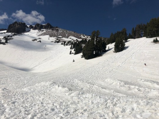 Snow play at Lassen Peak at Lassen Volcanic National Park