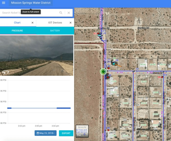 GeoViewer IoT Water Pressure Monitoring for Mission Springs Water District