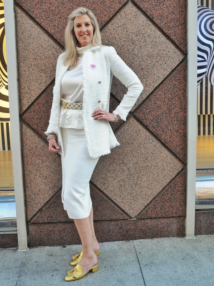 """Dr. Rebecca Metzinger of New Orleans, in town for an ophthalmology conference, stepped out wearing a mix of Chanel, Christian Louboutin and Yves Saint Laurent. How she describes her style: """"Clean lines. Simple and elegant. ... I'm tall, anyway, so I feel like I can wear a lot of things."""""""