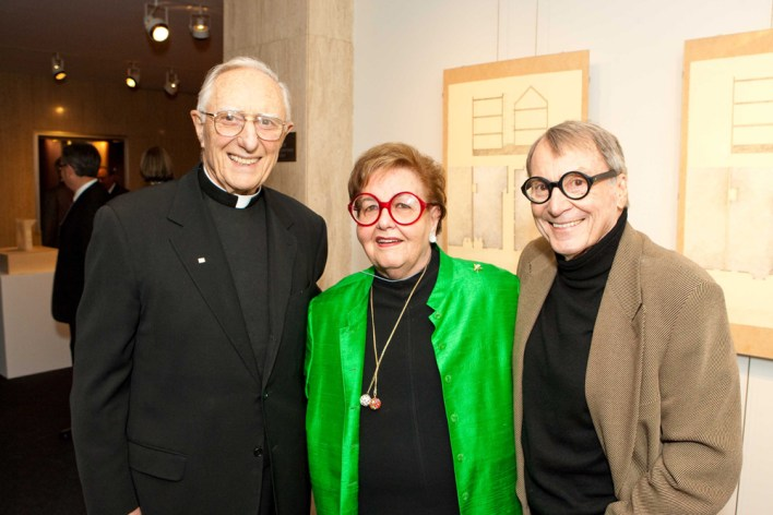 Father John LoSchiavo, Yvonne Sangiacomo and Angelo Sangiacomo attend Rev. P. Carlo Rossi, S.J. Entrepreneurial Chair on March 14th 2010 at US in San Francisco, CA (Photo - Drew Altizer)