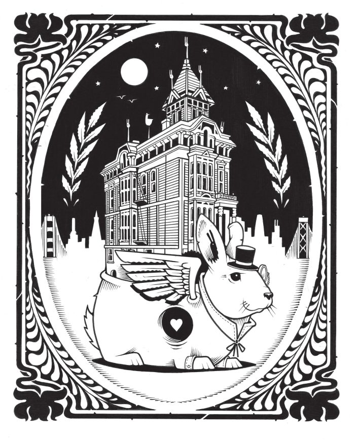 The White Rabbit, an illustration created by Jeremy Fish during his residency in the Doolan House.