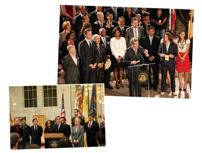 City leaders and advocates (right) celebrate the U.S. Supreme Court's 2013 decision to strike down the federal Defense of Marriage Act and California's Prop. 8, which banned same-sex marriage. Under Herrera (speaking to the press below in 2012), the City Attorney's Office helped topple the proposition and restore marriage equality.