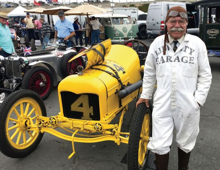 """Ed Archer (Rolex Monterey) Vintage racer Ed Archer brings an authentic period look to the track, along with his 1915 """"Old No. 4"""" Ford racecar."""