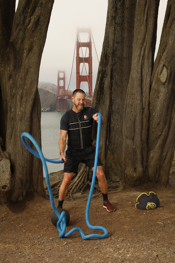 Foghorn Fitness trainer Keir Beadling, shown at the Presidio, knows the ropes when it comes to outdoor workouts.