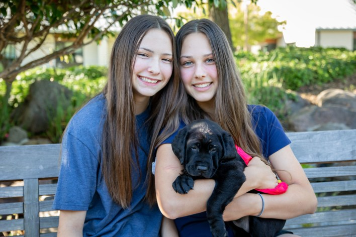 Guide Dogs puppy raisers Madelyn Clossen and Marisa Bricca