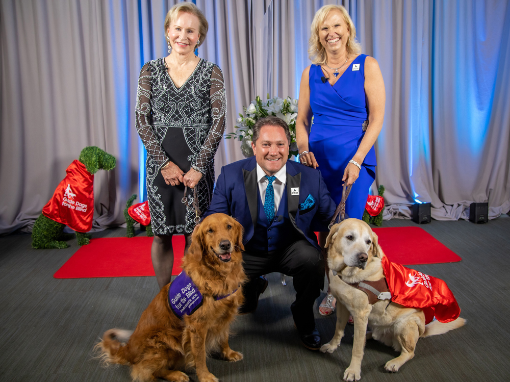 Guide Dogs CEO Christine Benninger, Liam Mayclem  and Outreach VP Theresa Stern