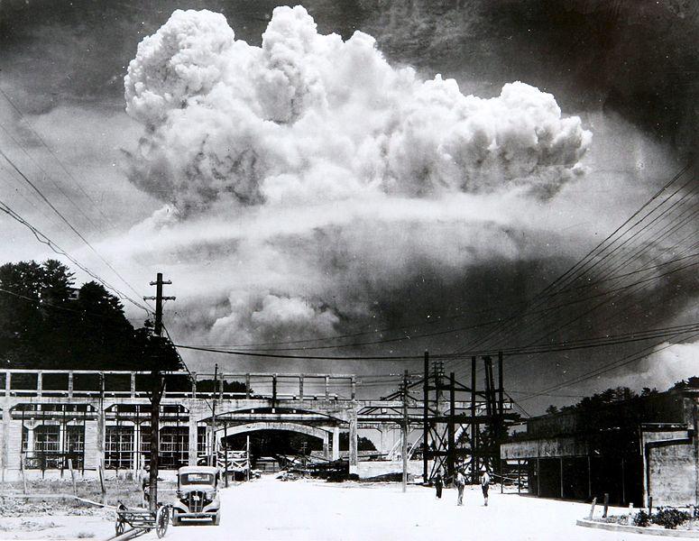 Atomic cloud over Nagasaki from Koyagi-jima on August 9, 1945.