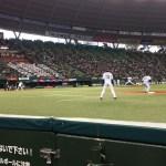 【西武ドーム観戦記】フィールドビューシート1塁側でオープンを観戦!3塁側よりも1塁側のほうが見どころは多い。