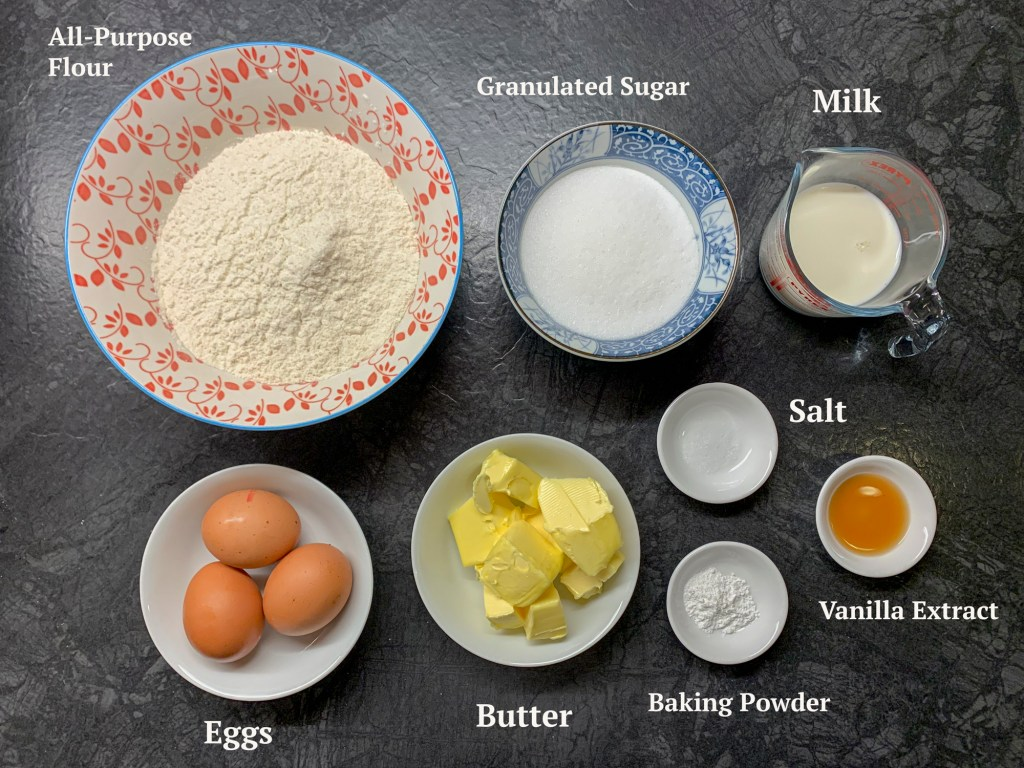 Ingredients for the vanilla cake are all purpose flour, sugar, milk, 3 eggs, butter, salt, baking powder and vanilla extract.