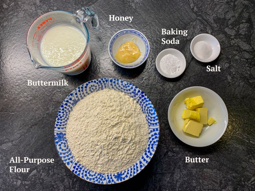 Ingredients for Soda bread are buttermilk, flour, butter, baking soda, salt and honey.