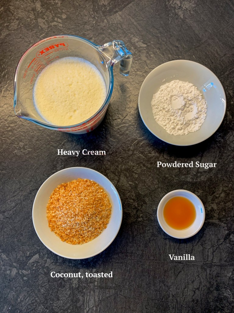 Ingredients for Coconut Cream Pie