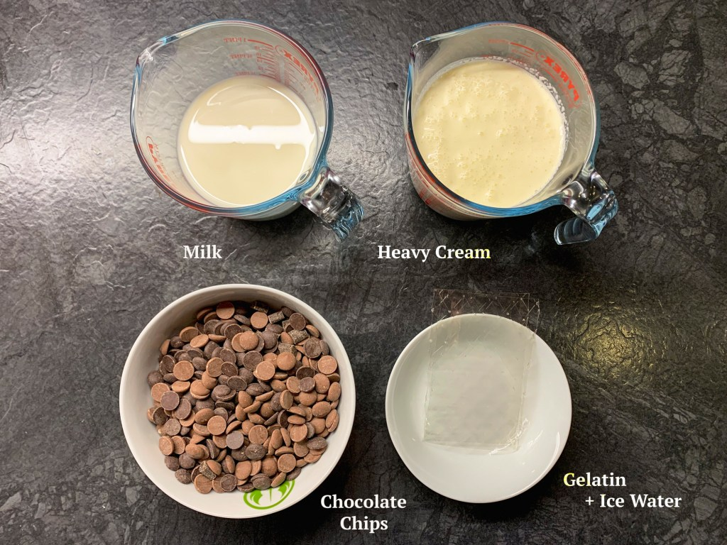Ingredients for Mousse au Chocolat are heavy cream, milk, chocolate and gelatin.