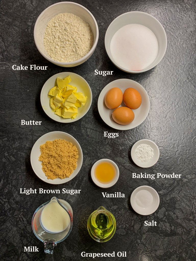 Ingredients for Dulce de Leche Peanut Butter Cake