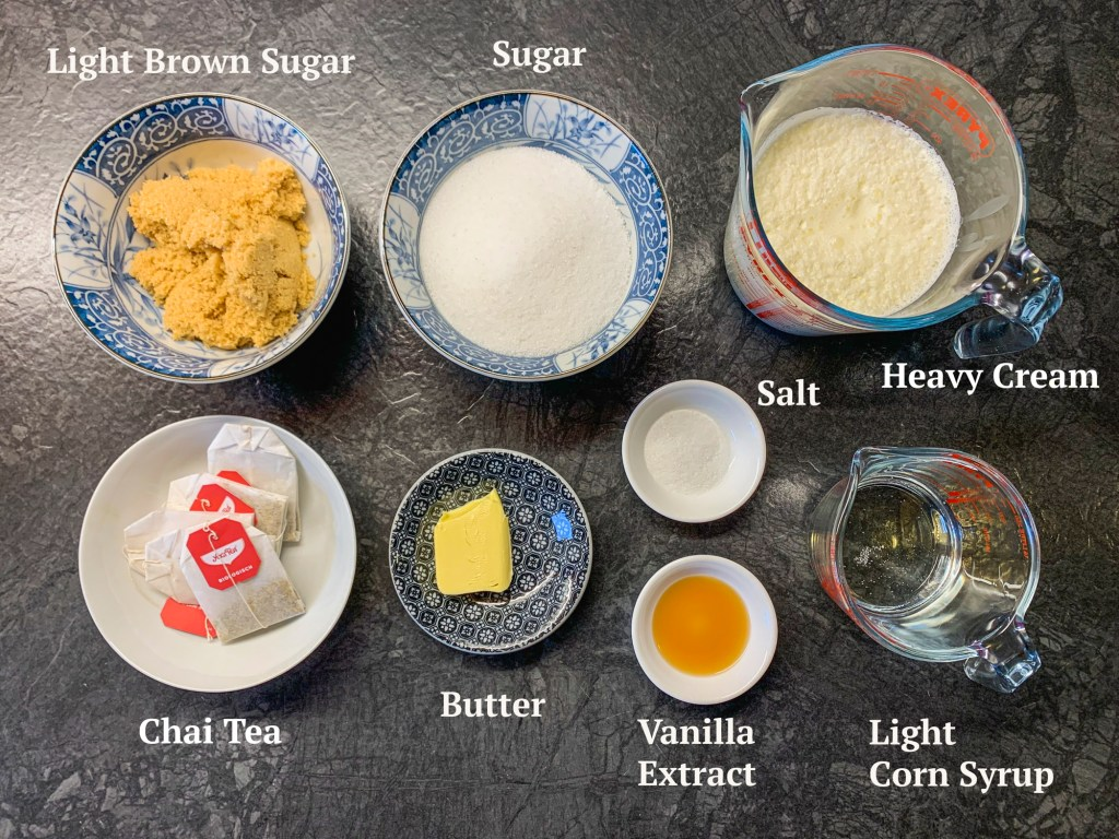 Ingredients for Chai Tea Caramels