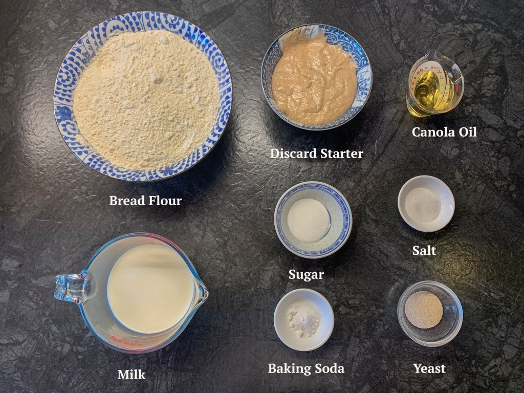 Ingredients for Sourdough Discard Sandwich Bread