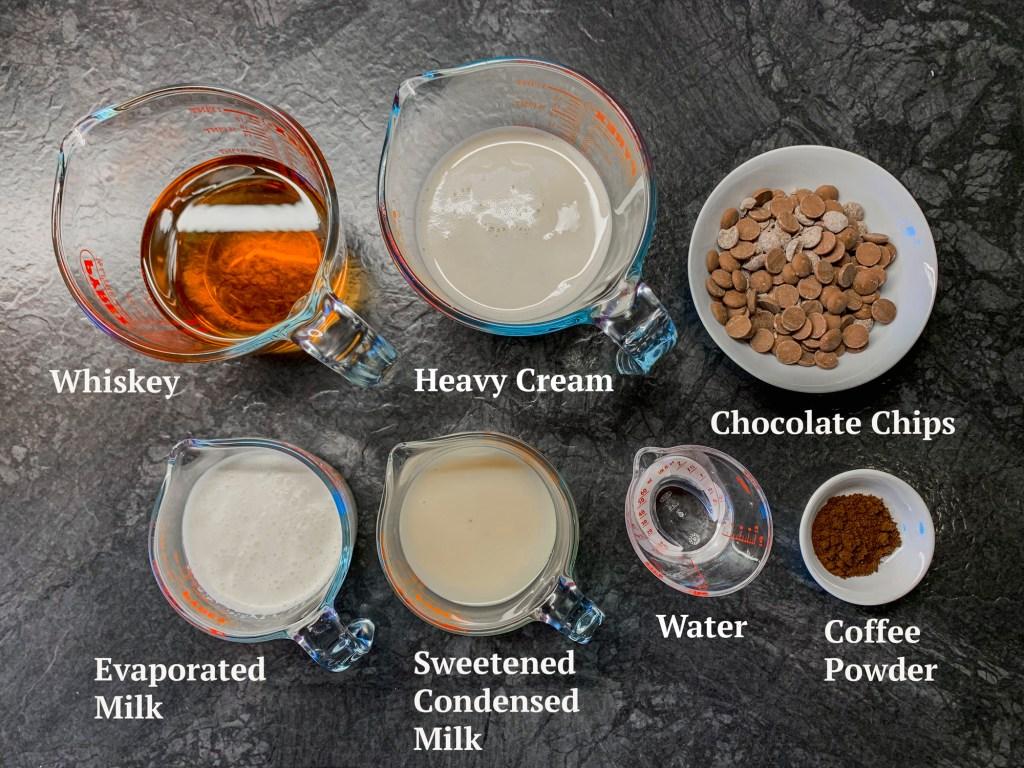 Ingredients for Baileys Irish Cream