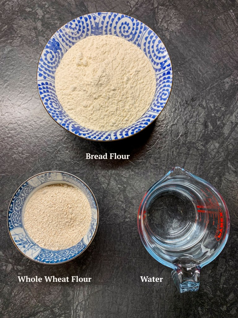 Ingredients for a basic sourdough bread