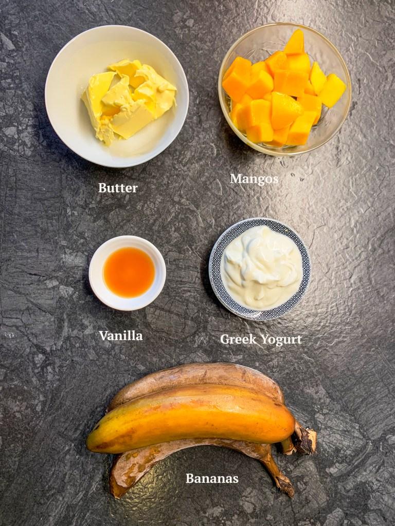 Ingredients for White Chocolate Mango Banana Bread