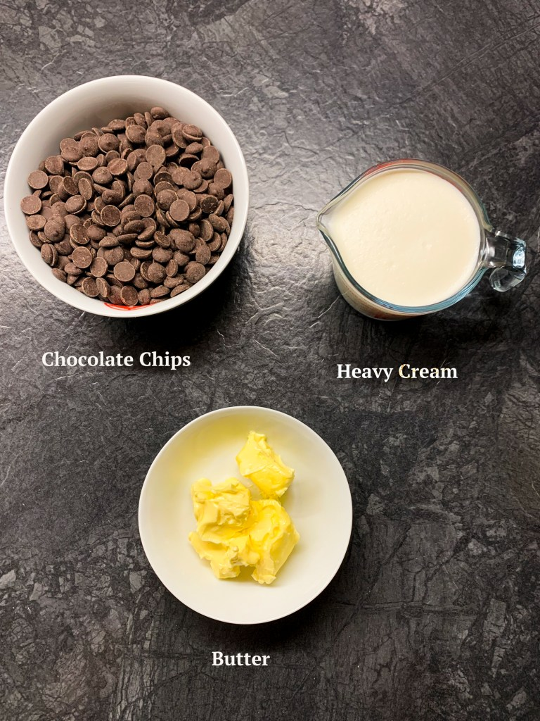Ingredients for chocolate ganache