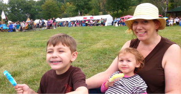 Myself and the kids at a powwow, 2015