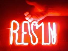 """Resin"" sign for visual agency ""nothing: something: ny"" for Resin Denim 2009"