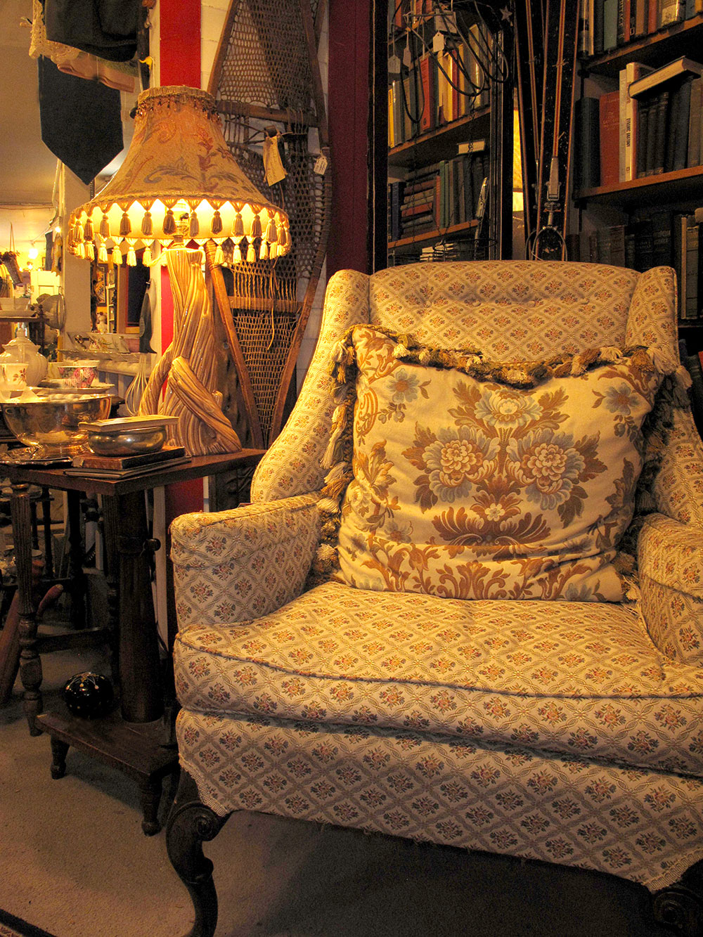 cozy chair and lamp tassled lamp shade